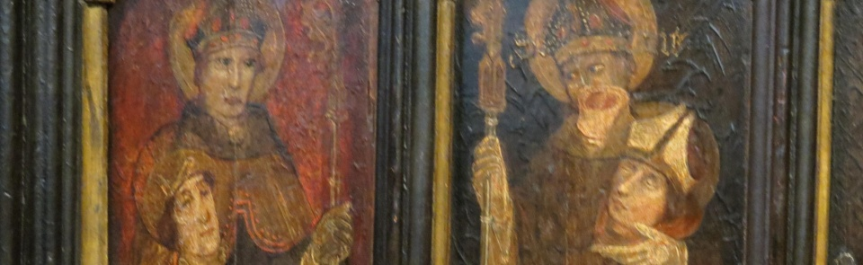 St Cuthbert with St Oswald's head, Hexham Abbey