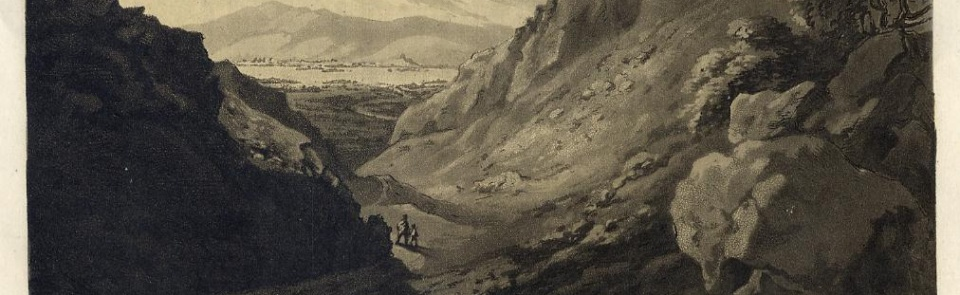 Derwentwater from Castle Crag, from West's Guide to the Lakes, 1774.  For more images see Gallery