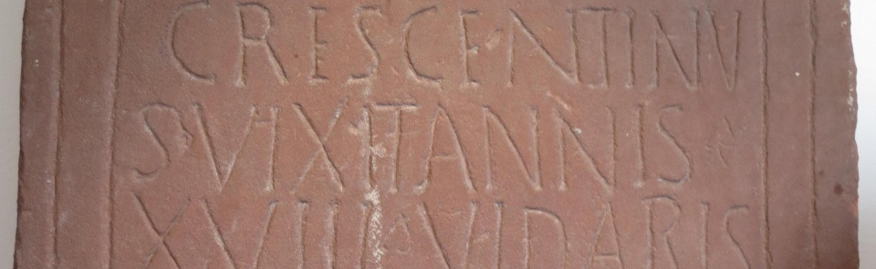 """Crescentinus - He Lived 18 years""  Roman tombstone, Brougham"