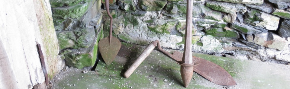 Farming implements including turf spade and hay knife, Old Hall Historic Working Farm Bouth