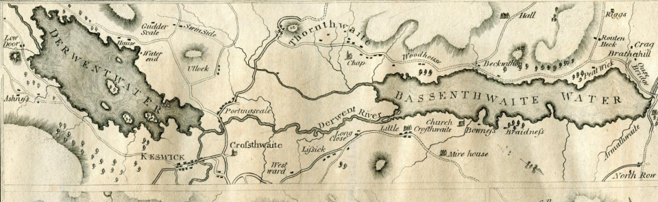 Map of the Lakes from Hutchinson's Cumberland 1794