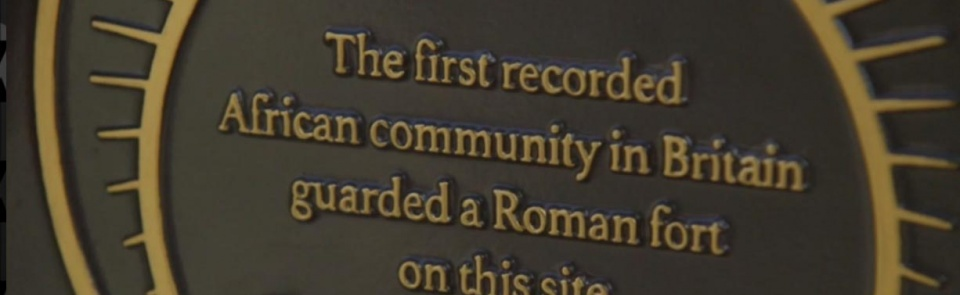 Plaque recording the first African community in Britain