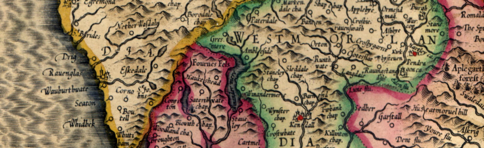 Mercator's map of Cumbria 1595