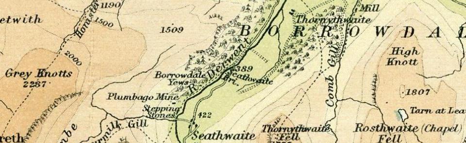 Plumbago Mine, Bartholemews One Inch map 1920